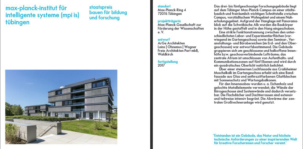 Staatspreis Baukultur 2020 für das Max-Planck-Institutsgebäude für Intelligente Systeme in Tübingen ({project_images:field_row_count})