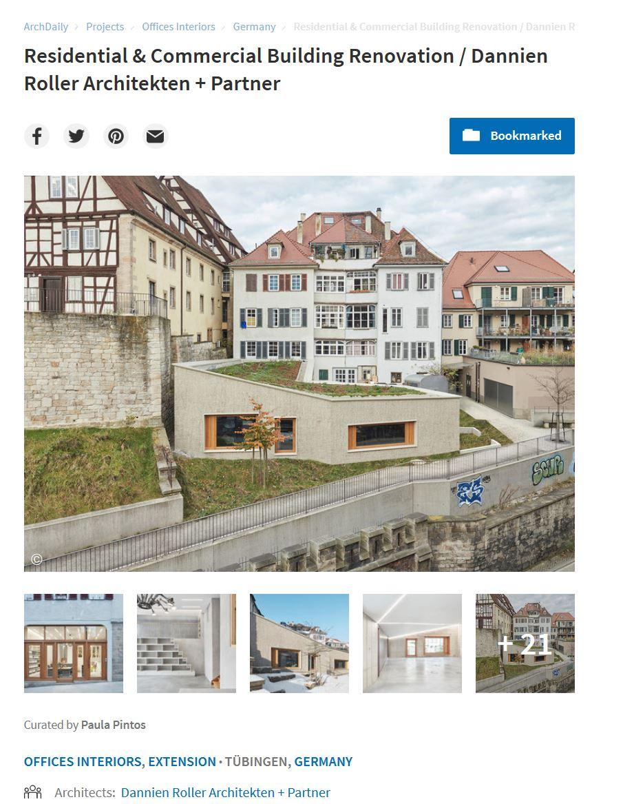 ArchDaily veröffentlicht unserer Projekt in der Pfleghofstraße in Tübingen ({project_images:field_row_count})