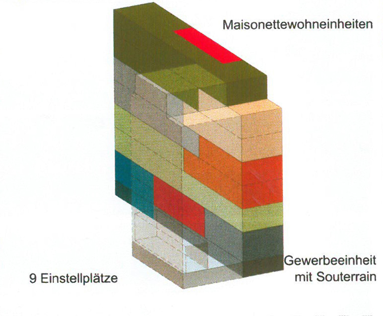 Studie Wohngebäude als Baustein im Block mit flexiblem Seitenflügel (2)