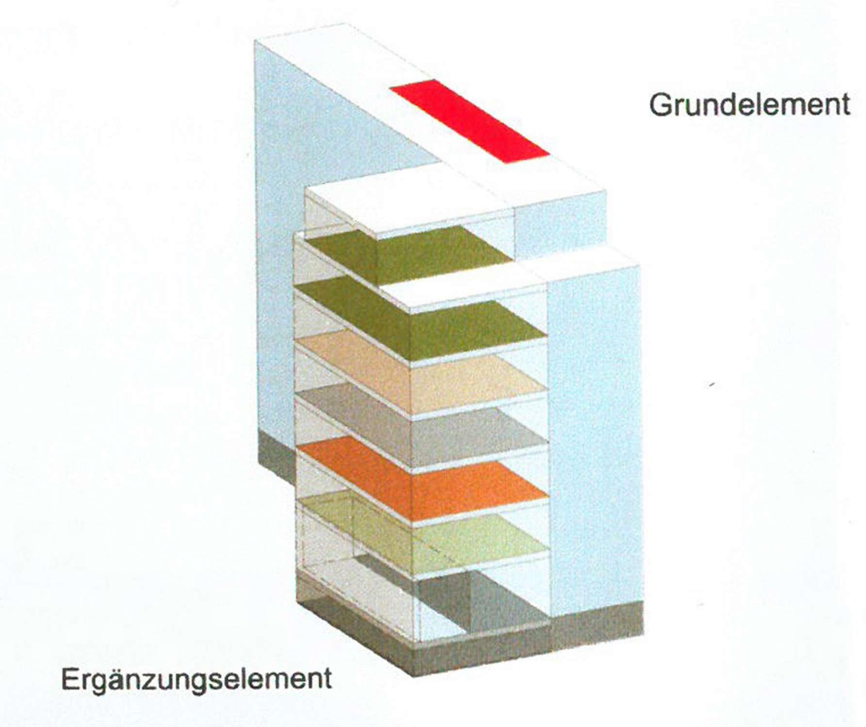 Studie Wohngebäude als Baustein im Block mit flexiblem Seitenflügel (1)