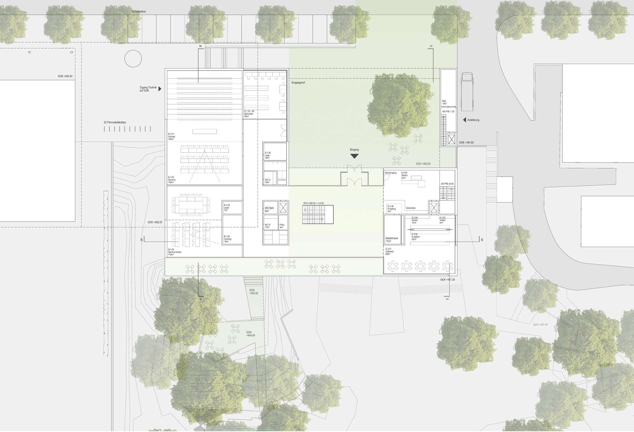 Neubau Zentralgebäude als Hörsaal, Mensa und Seminargebäude (3)