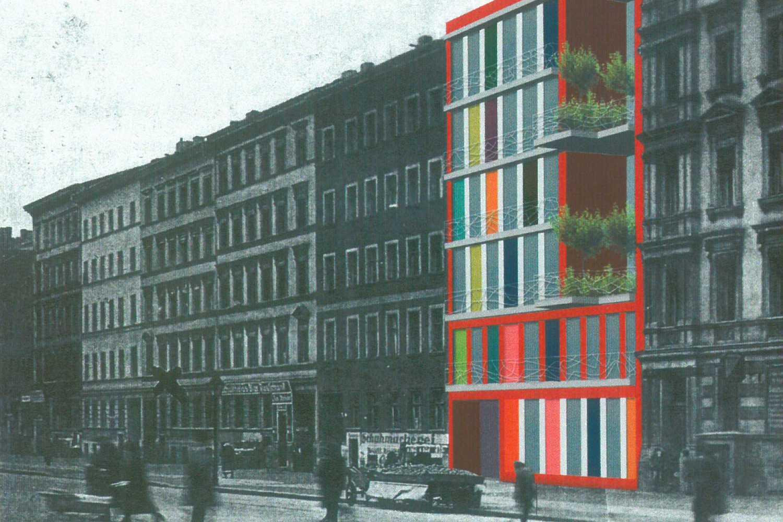 Studie Wohngebäude als Baustein im Block mit flexiblem Seitenflügel