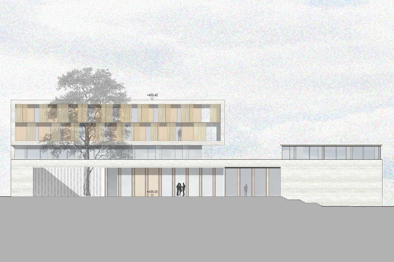 Neubau Zentralgebäude als Hörsaal, Mensa und Seminargebäude